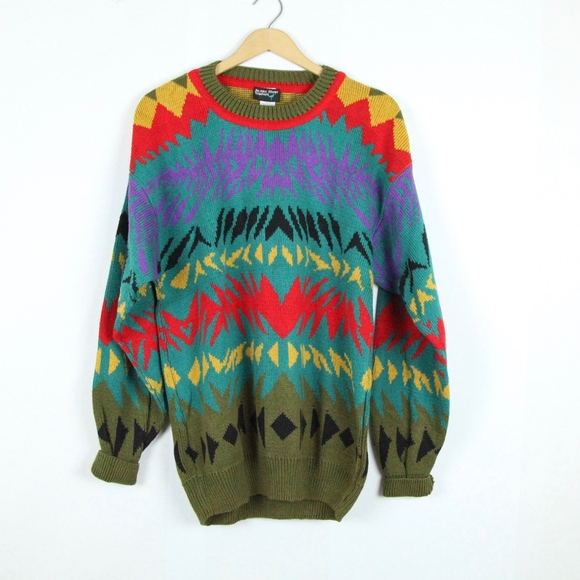 f138158c Vintage 90s Dad Sweater Ugly Crazy Cosby Cotton L